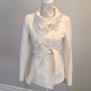Zara winter white pea coat (wool blend)